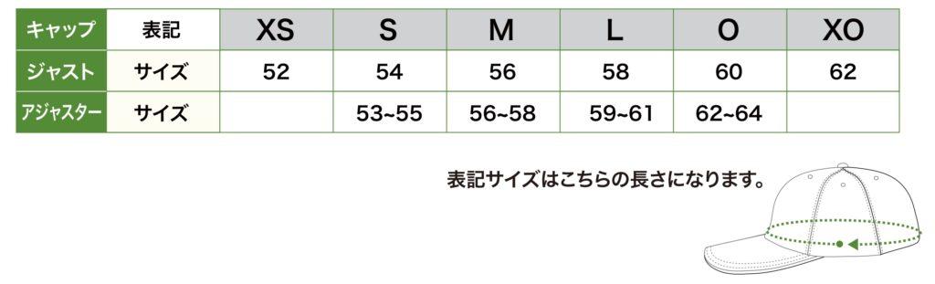 キャップサイズ表