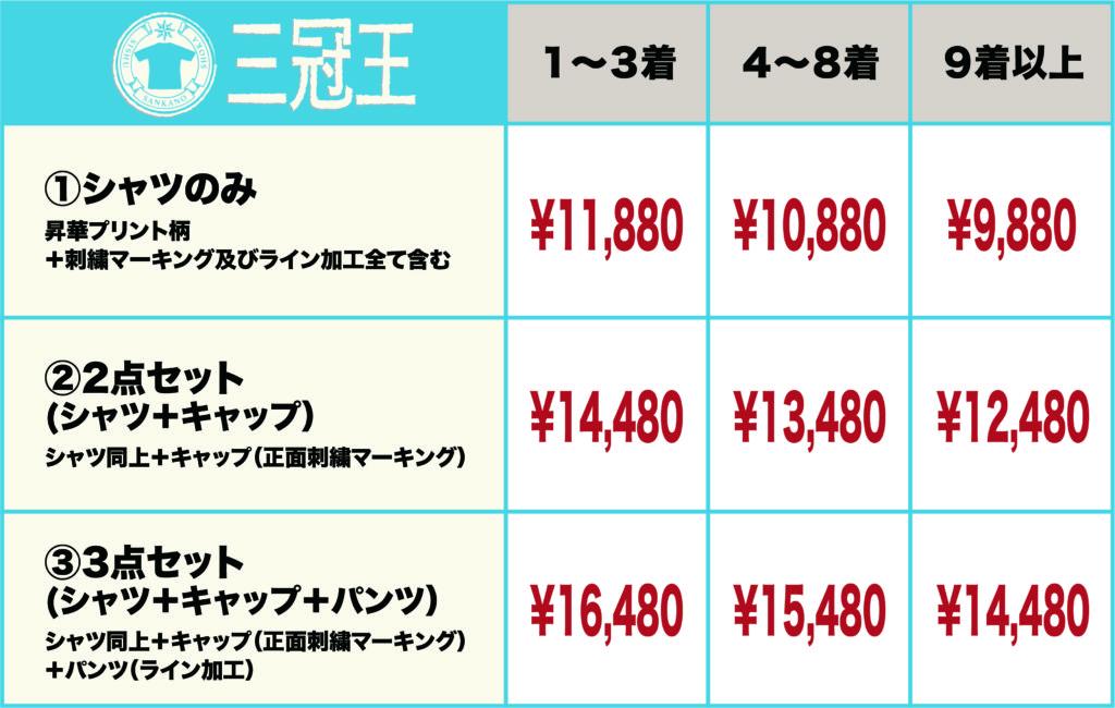 三冠王価格表